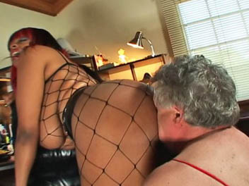 Fishnet facesitting mistress0. Carmin parades around the room in her fishnet bodysuit and leather heels before performing asphyxiation on her slave by way of facesitting.  She then orders her slave to put on womens lingerie and smothers him with her considerable black horny ass.  Find out what h